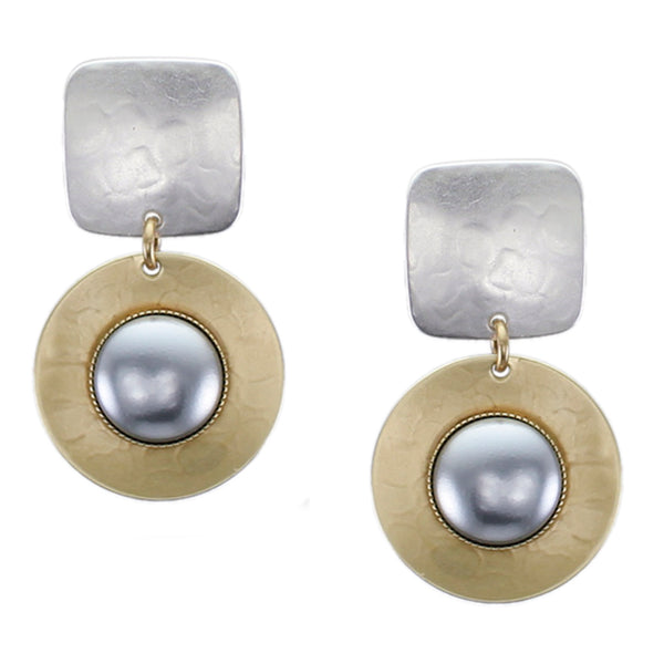 Rounded Square and Disc with Large Grey Pearl Cabochon Post or Clip Earring