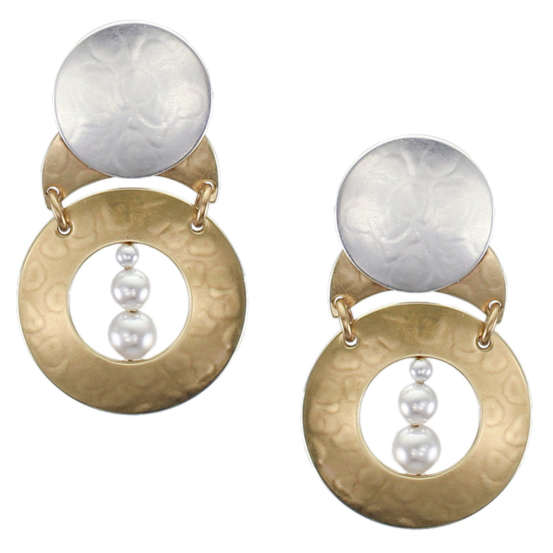 Disc on Crescent with Wide Ring and Graduated White Pearls Post or Clip Earring