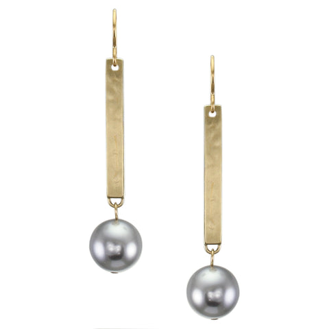 Long Rectangle with Large Grey Pearl Wire Earring