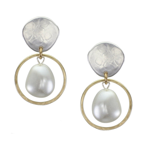 Organic Disc with Ring and Organic White Pearl Post or Clip Earring