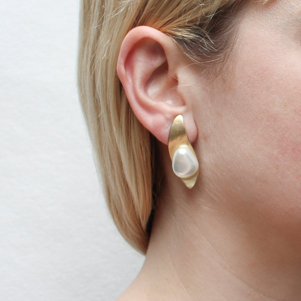 Long Leaf with Organic White Pearl Post or Clip Earring