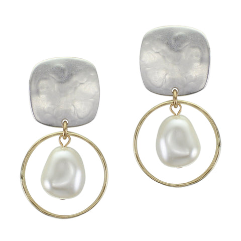 Rounded Square with Ring and Organic White Pearl Post or Clip Earring
