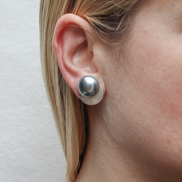 Grey Pearl Cabochon on Disc Post or Clip Earring