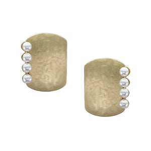 Rounded Rectangle with a Line of White Pearls Post or Clip Earring