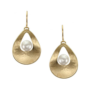 Cutout Teardrop with White Pearl Wire Earring