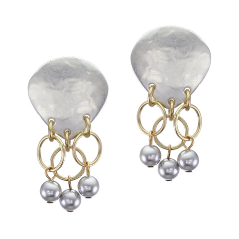 Inverted Teardrop with Rings and Grey Pearls Post or Clip Earring
