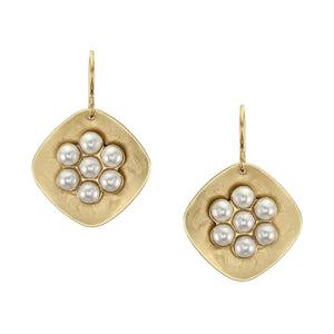 Rounded Diamond Shape with Cluster of Small White Pearls Wire Earring