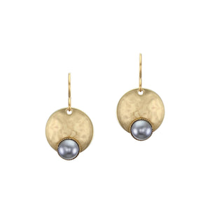 Disc with Small Grey Pearl Cabochon Wire Earring