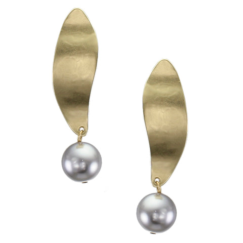 Long Leaf with Large Grey Pearl Post or Clip Earring