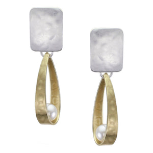 Rectangle with Long Loop and White Pearl Post or Clip Earring