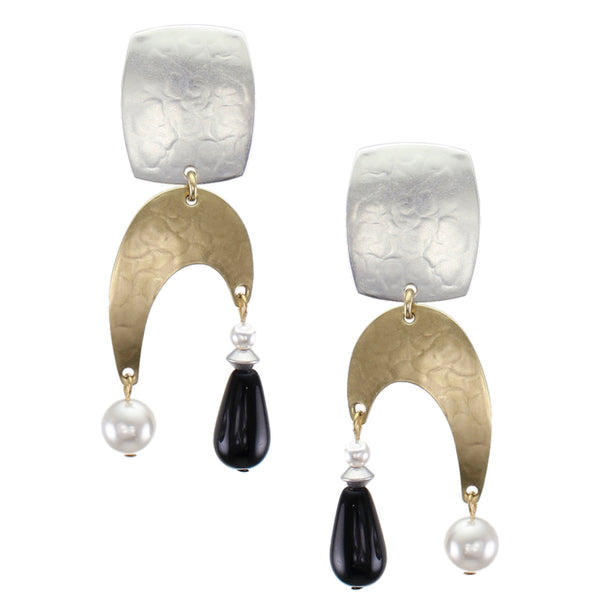 Rounded Rectangle and Arch with White Pearls and Black Bead Post or Clip Earring