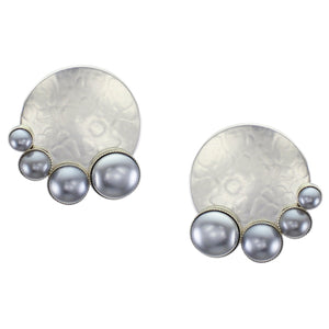 Large Disc with Arch of Graduated Grey Pearl Cabochons Post or Clip Earring