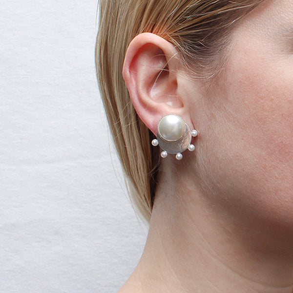 Large White Pearl Cabochon on Disc with Radial Pearls Post or Clip Earring