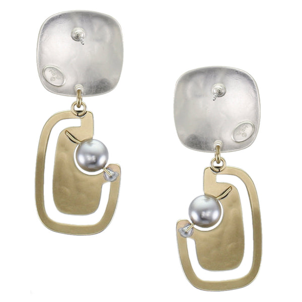 Rounded Square with Cutout Rounded Rectangle and Grey Pearl Post or Clip Earring