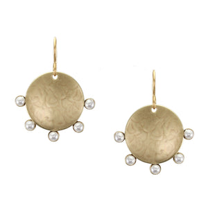 Disc with Radial Small White Pearls Wire Earring