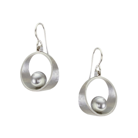 Small Rim with Grey Pearl Wire Earring