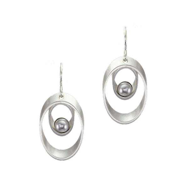 Graduated Oval Rims with Grey Pearl Cabochon Wire Earring