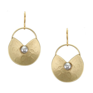 Dished Cutout Oval with Ring and Grey Pearl Cabochon Wire Earring
