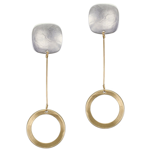Rounded Square with Extended Dished Disc Drop Post or Clip Earring