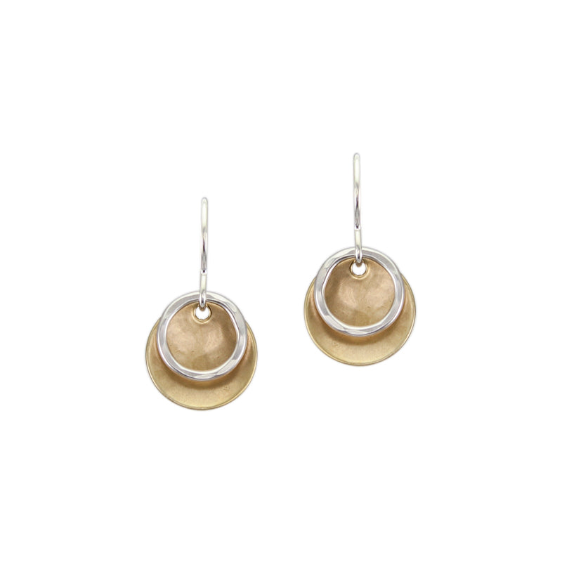 Extra Small Dished Disc with Ring Wire Earring