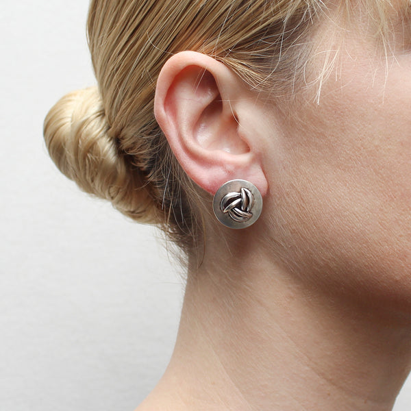 Disc with Layered Leaves Post Earring