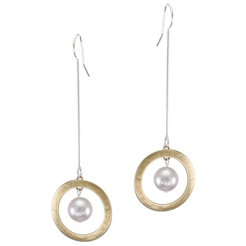 Extended Ring and Pearl Drop Wire Earring