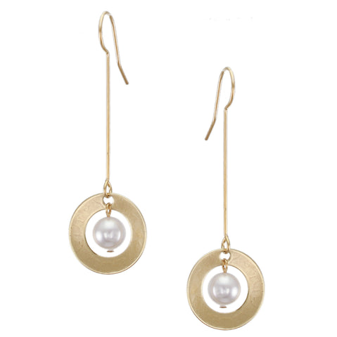Extended Dished Cutout Disc with White Pearl Wire Earring