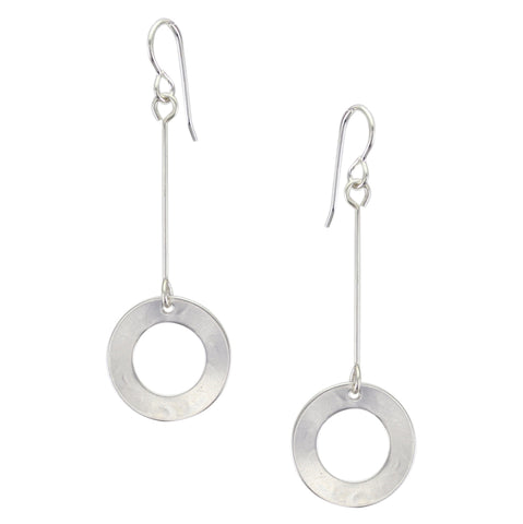 Extended Dished Ring Drop Wire Earring