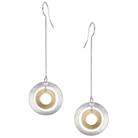 Extended Cutout Discs Drop Wire Earring