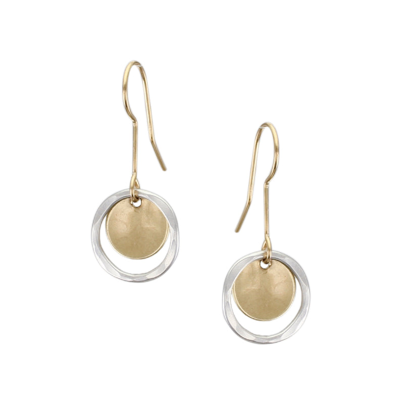 Small Extended Ring and Disc Drop Wire Earring