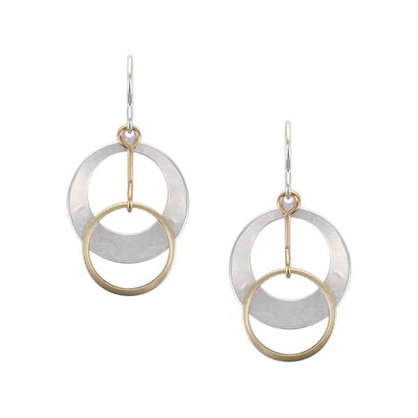 Small Dished Cutout Disc with Extended Ring Drop Wire Earring