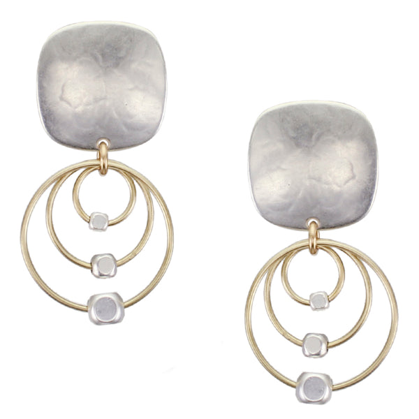 Rounded Square with Triple Rings and Beads Post or Clip Earring