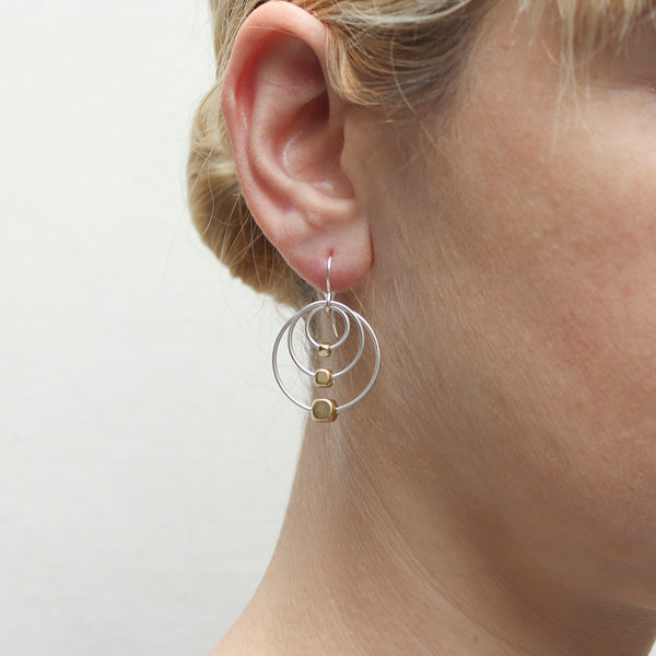 Triple Rings with Beads Wire Earring