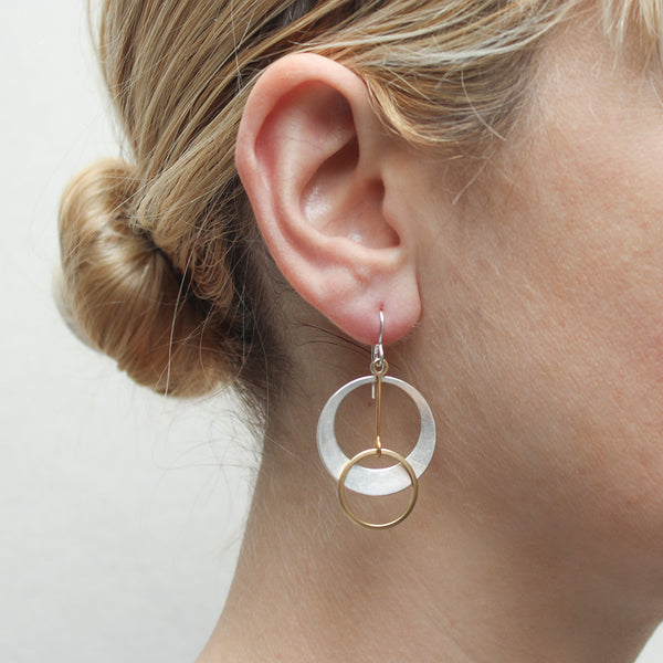 Medium Dished Cutout Disc with Extended Ring Drop Wire Earring
