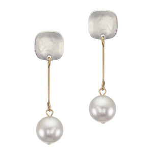 Small Rounded Square with Extended White Pearl Drop Post Earring
