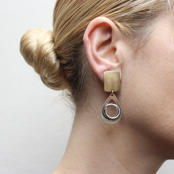 Rounded Rectangle and Cutout Teardrop with Thin Knot Clip or Post Earring