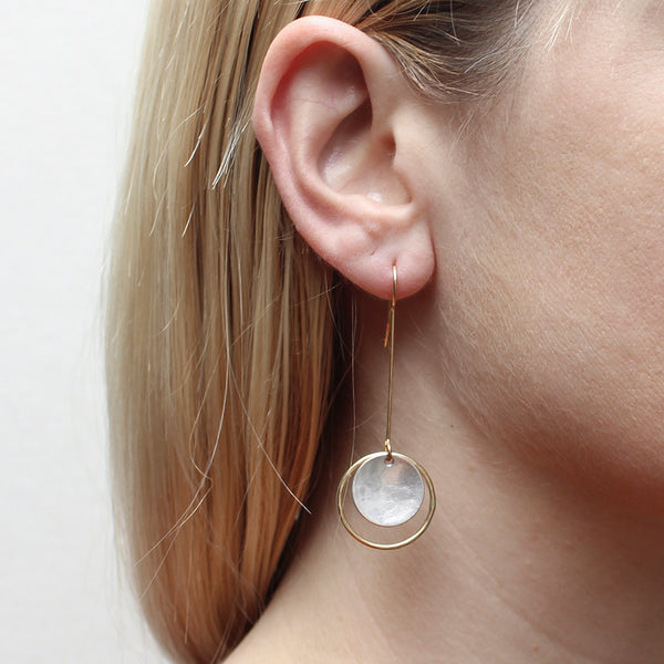 Large Extended Ring and Disc Drop Wire Earring