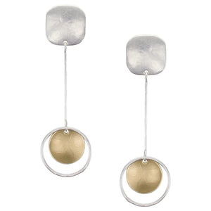 Rounded Square with Extended Ring and Disc Drop Post or Clip Earring