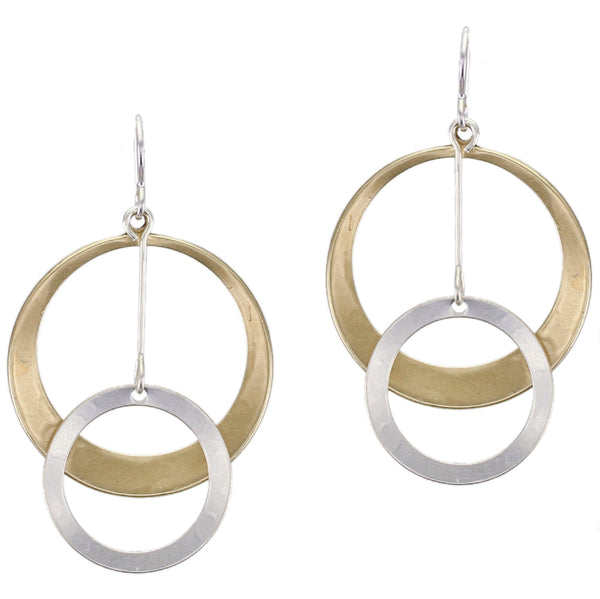 Large Dished Cutout Disc with Extended Ring Drop Wire Earring