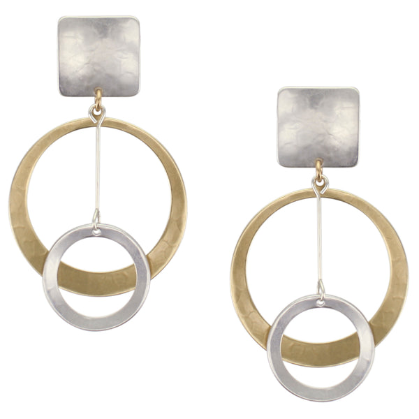 Square with Extra Large Dished Cutout Disc with Extended Ring Drop Post or Clip Earring