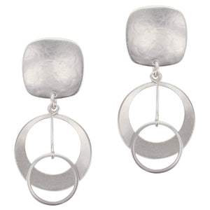 Rounded Square with Medium Dished Cutout Disc with Extended Ring Drop Post or Clip Earring