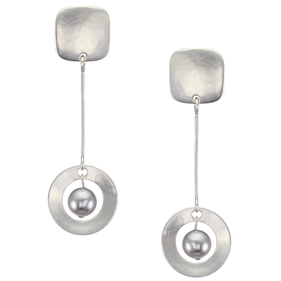 Rounded Square with Extended Ring and Grey Pearl Drop Post Earring