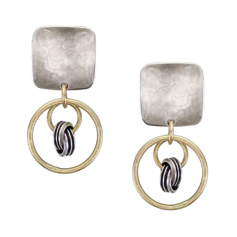Rounded Square with Medium Rings with Suspended Knot Clip or Post Earring