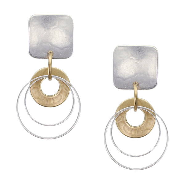 Small Rounded Square with Cutout Disc and Double Rings Post or Clip Earring