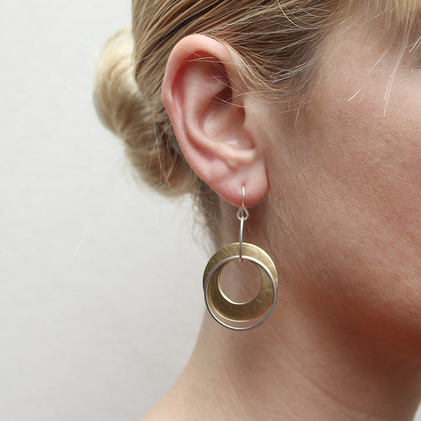 Large Wide Ring with Thin Ring Wire Earring