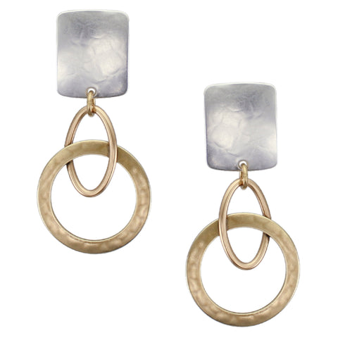 Rounded Rectangle with Oval Ring Interlocked with Wide Ring Post or Clip Earring
