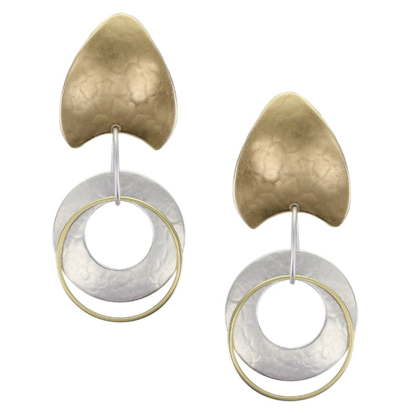 Pointed Fin Top with Wide Ring with Thin Ring Drop Post or Clip Earring