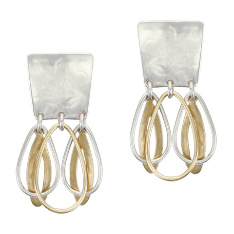 Tapered Rectangle with Layered Oval Rings Post or Clip Earring