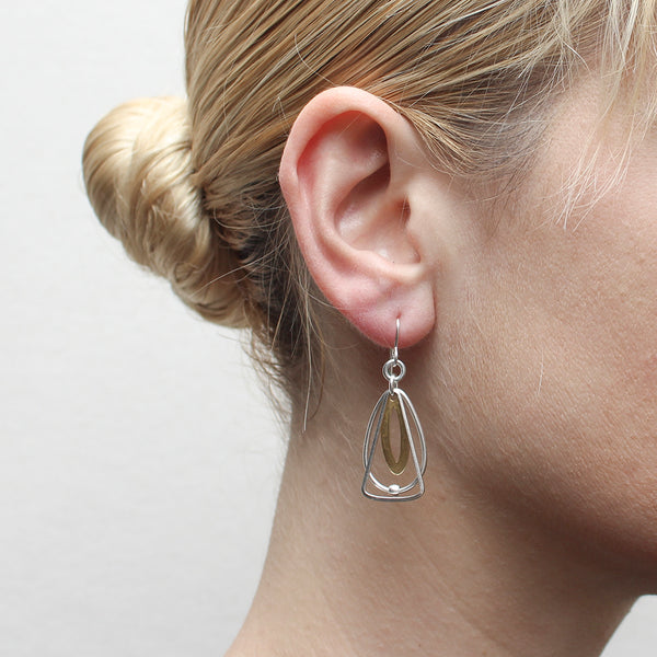 Layered Oval and Triangular Rings Wire Earring