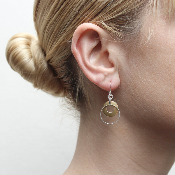 Cutout Disc with Thin Ring Wire Earring